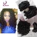 7 unids 100% brasileño rizado clip en las extensiones 100 g / envío gratis rizado rizado extensión con clip del pelo # 1b del color negro women