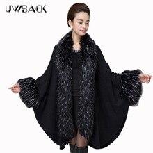 2016 женщин мода кабо-пончо шаль Batwing рукавом теплый мода искусственного меха кардиган KB870