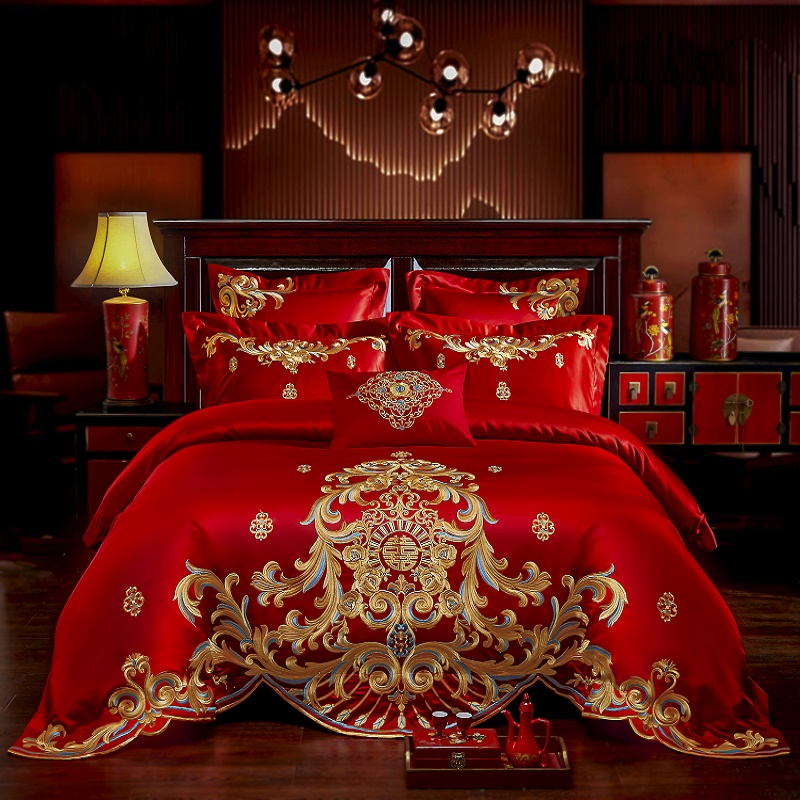 New Luxury Red Wedding Style Gold Royal Embroidery 100 Cotton Bedding Set Duvet Cover Bed sheet