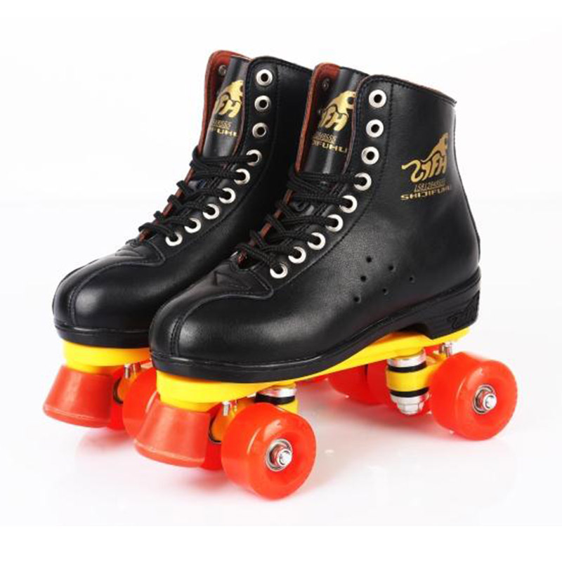 Genuine Leather Roller Skates Double Line Skates Men Women Models Adult With Red Racing 4 Wheels Two line Roller Skating Shoes цена 2017