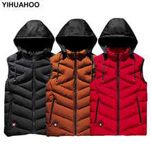 Yihuahoo жилет Для мужчин плюс Размеры 6XL 7XL 8XL Повседневное зимняя куртка без рукавов мужские с капюшоном толстые Теплая парка куртка жилет Для мужчин XYN858