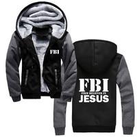 Fashion Winter Cotton Hoodies Fbi Jesus ,jesus,christian,god Religion,funny Sweatshirt Cool Hoody Jackets Harajuku Streetwear
