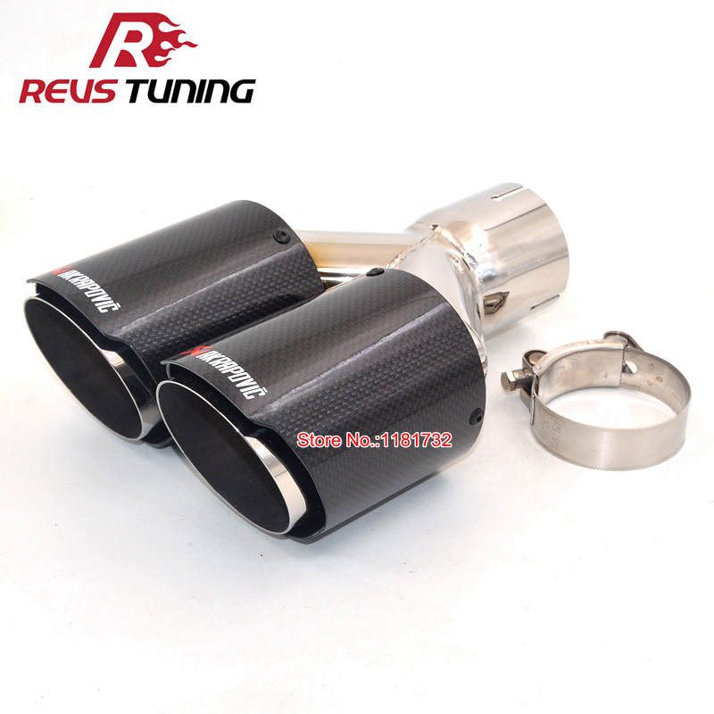 Universal Gloss Real Carbon Fiber Vehicle Exhaust Muffler Tip 60mm Inlet For BMW
