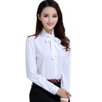 Korean Style 2016 Women Tie White Blouse Ladies Office Work Wear Shirts Fashion Elegant Ruffles Long