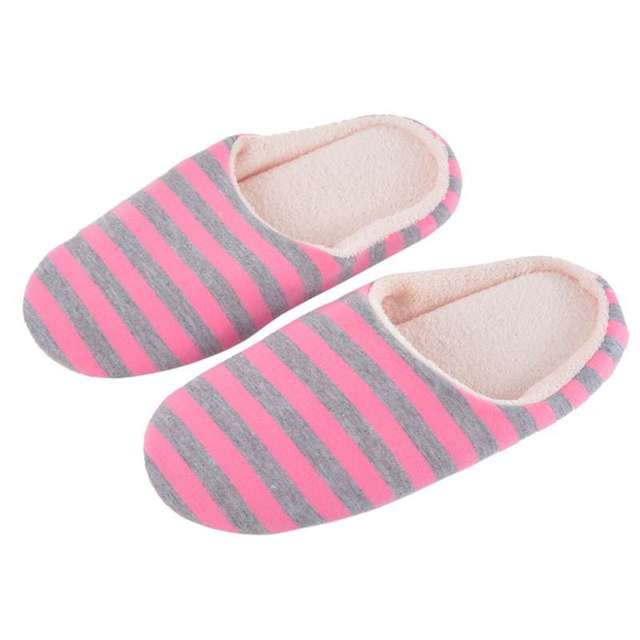 7145cd2bd94 Slipper Women Striped Bottom Soft Room Slippers Warm Cotton Shoes Indoor  Slippers Slip-On Shoes for Bedroom House Shoes klapki