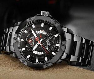 Image 2 - NAVIFORCE Top marque de luxe hommes montre de sport décontracté en acier pleine Date montres à Quartz hommes montres relogio masculino