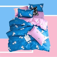 Cartoon Small Zebra Kids Bedding Anime Pattern Comforter Cover Set of Sheet Animal Bedspread Blue With Printed 3 Or 4 Pieces
