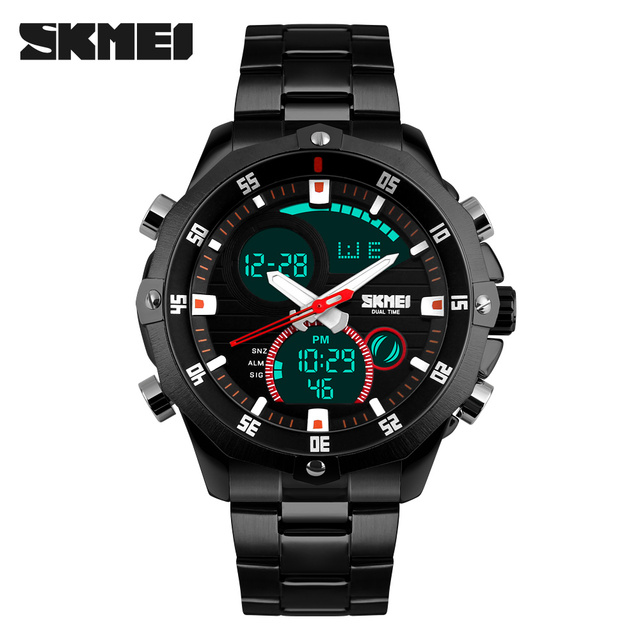 Full Steel Military Watch Waterproof Men Sport Watches Fashion Dual Movement Digital LED Calendar Alarm Digital-watch SKMEI 1146