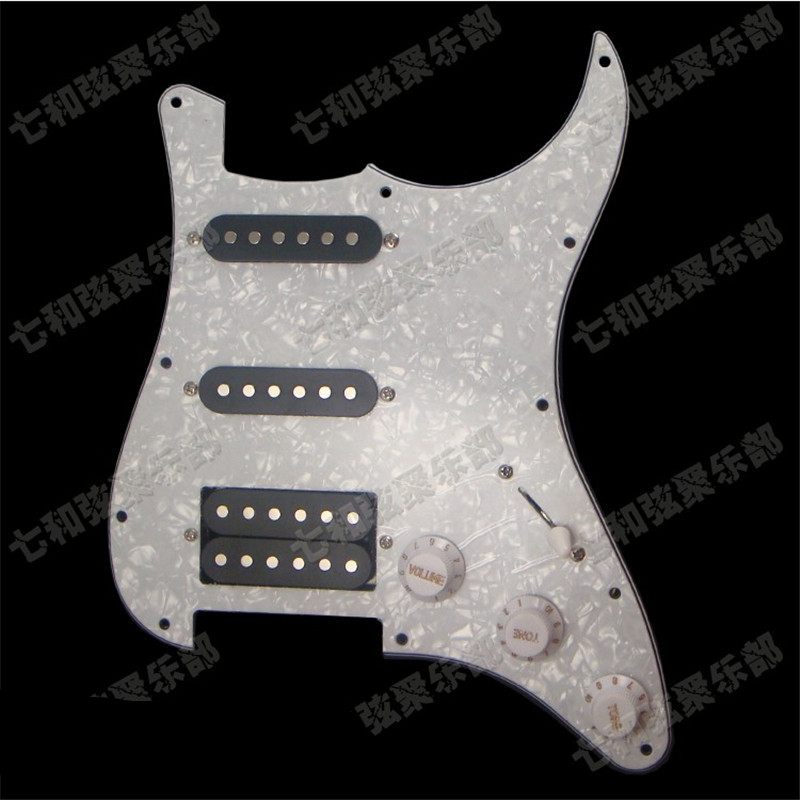 White Pearl SSH Guitar Loaded Prewired Pickguard scratchplate Assembly For Guitar With BlacK pickup Guitar Accessories musiclily 3ply pvc outline pickguard for fenderstrat st guitar custom