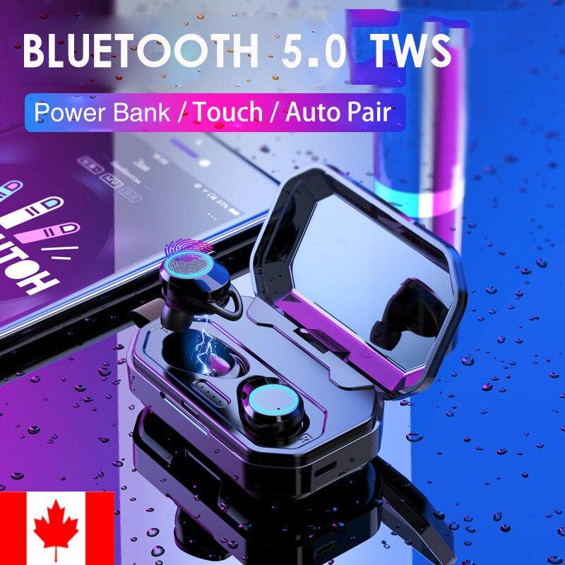Dernier Bluetooth 5.0 IPX6 Sports écouteurs sans fil casques intra-auriculaires écouteurs stéréo de haute qualité sonore avec batterie externe