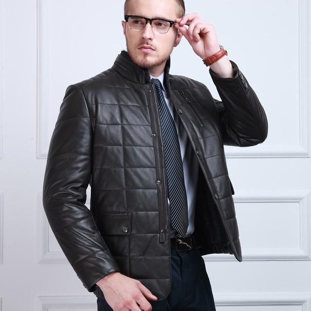 Nuevo 2016 escudo Para el hombre de negocios de alta calidad de piel de oveja de pie hombres de la chaqueta de Cuero Genuino abrigo de Cuero