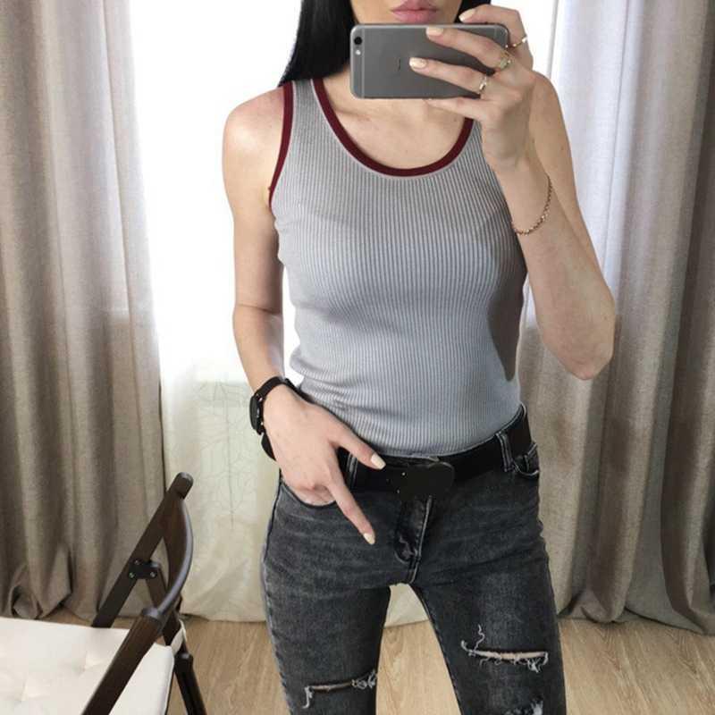2d8362724c8806 ... GIGOGOU 2019 High Quality Knitted Women Tank Top Euro Style Sleeveless  T Shirt Fashion Casual Summer
