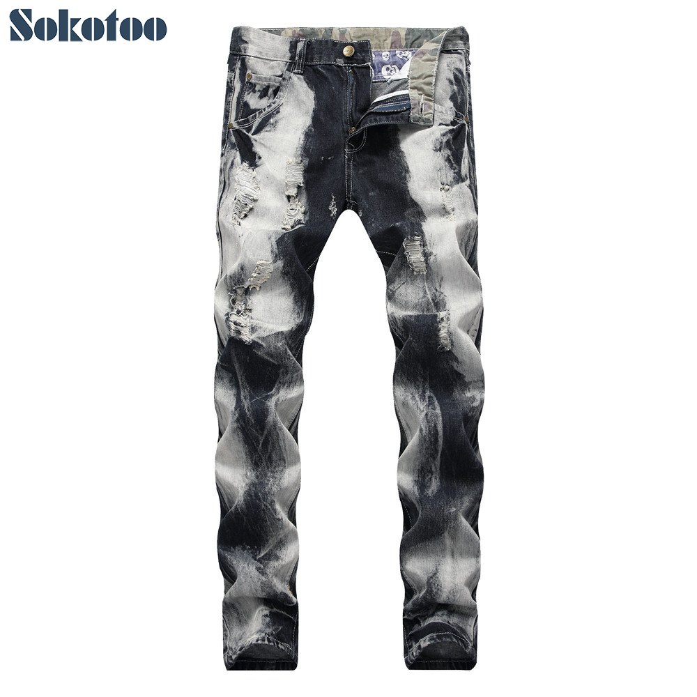Sokotoo Men's Tie And Dye Gray Black Ripped Jeans Fashion Slim Straight Holes Distressed Denim Pants