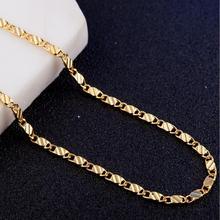 16 18 20 22 24 26 28 30 cali mały łańcuszek naszyjniki (2mm) biżuteria 18 k czystego złota kolor ołowiu i niklu tanie tanio Miedzi Mężczyźni Łańcuszki naszyjniki Klasyczny Figaro chain Kryształ Zwierząt 925 SILVER Necklace Fashion Nickel Lead and Cadmium Free