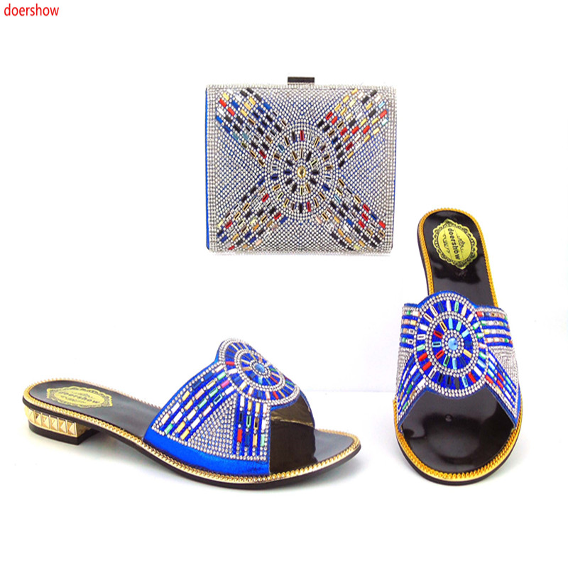 цены Italian Shoes and Bag Set Women Shoe and Bag To Match for Parties Latest Blue Color Ladies Matching Shoes and Ba ! ki1-3