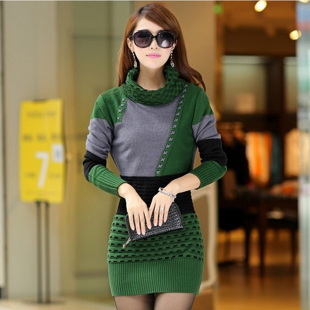 Woman Winter Dress  Knitted Dress Turtleneck Long Sleeve Women Sweater Dress Sweaters and Pullovers Plus Size Women Clothing 1