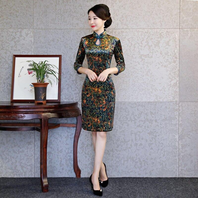 Winter Mom Cheongsam In Sleeve Velvet Cheongsam Qipao Oriental Evening Dress Women Traditional Chinese Antiques For Sale Dresses