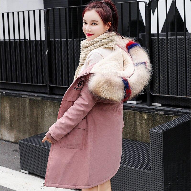 f5d09ccf896 Parkas Militar Mujeres Nueva Mujer Chaquetas 2018 Gruesa Dama rosado Ropa  Invierno Abrigo Verde Falsa Piel De caqui Nieve Chaqueta aXq55w
