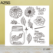 AZSG Glass Bottles Flowers Leaves Clear Stamps/Seals For DIY Scrapbooking/Card Making/Album Decorative Silicone Stamp Crafts