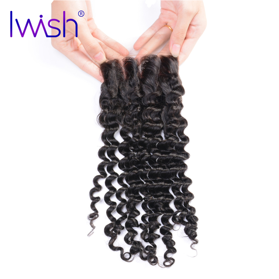 Iwish Hair Malaysian Curly Hair Lace Closure Free Part Hair Closure 4×4 inch Can Be Bleached 100% Human Remy Hair 8-20 inch
