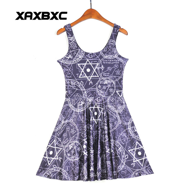 US $12 0  NEW Arrival 1205 Sexy Girl Women Summers pellbound symbol curse  3D Prints Reversible Sleeveless Skater Pleated Dress Plus Size-in Dresses