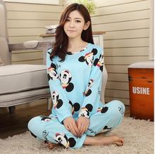 New women long sleeve carton sleepwear pajama sets female nightwear lady Pyjamas nightgowns teenage pijamas home