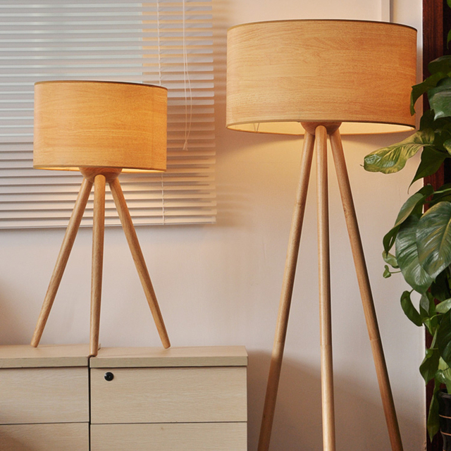 Contemporary tripod wood floor lamp european style for bedroom ems free shipping