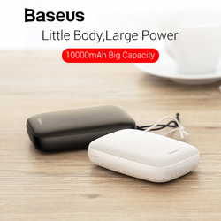 Baseus 10000mAh Mini Portable Power Bank For iPhone Xs Max X 7 8 Samsung S9 Huawei Xiaomi Powerbank 2.1A USB Charger Power Bank