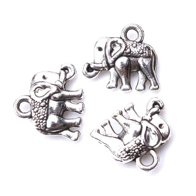 10 pzas/lote Mini lindo elefante encanto antiguo plateado DIY joyería accesorios pulseras y accesorios de joyería 12mm x 13mm colgante