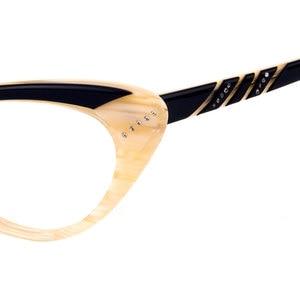 Image 3 - Gmei Optical Fashion Cat Eye Eyewear Acetate Full Rim Women Prescription Eyeglasses Frame Cateye Spectacles T8057