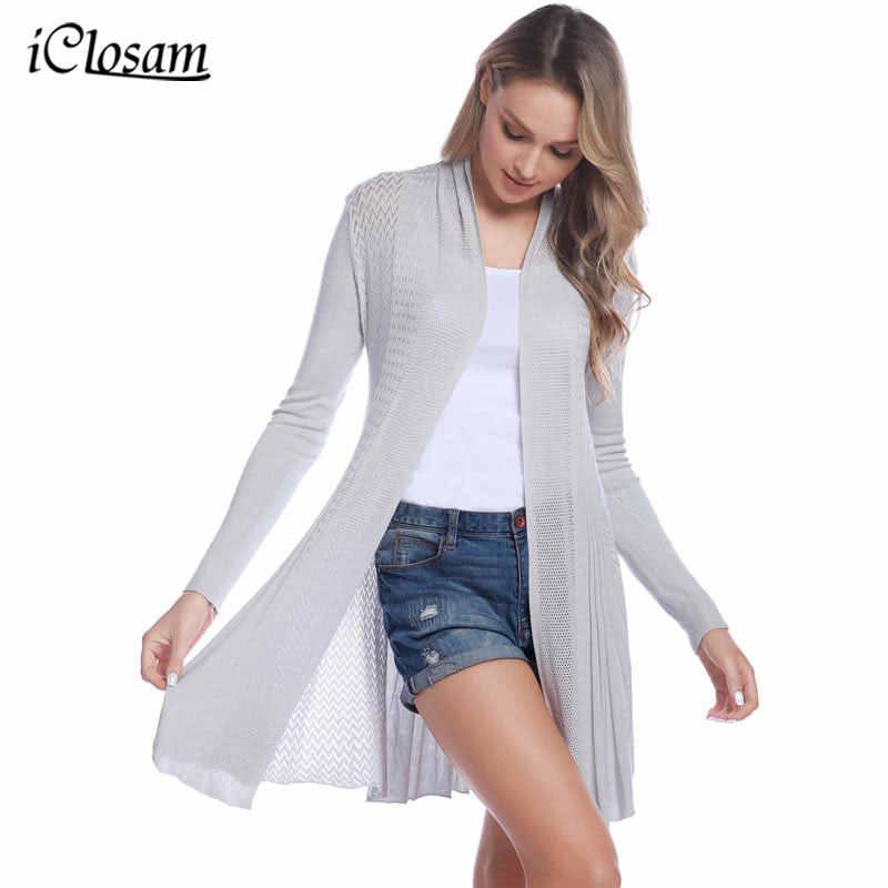 06a7e8385221b IClosam 2019 女性のカジュアルなカーディガンニットオープンフロント長袖ミッドレングスセクシー暖かいカーディガン