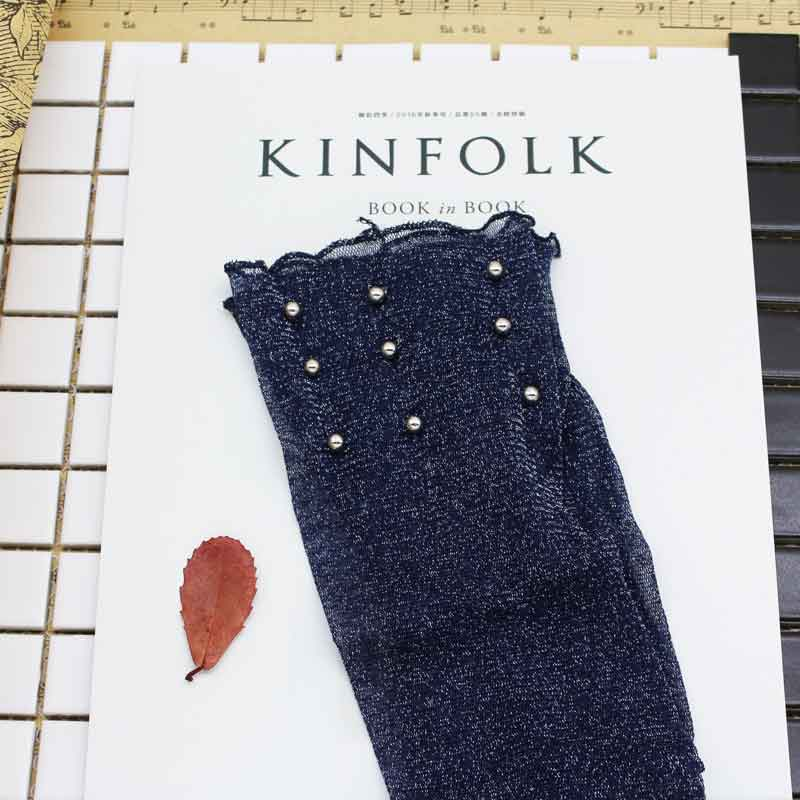 SP&CITY 2017 New Fashion Shiny Socks Women Transparent Chic Vintage Bead Sock Art Punk Rock Popular Hollow Out Fishnet Socks