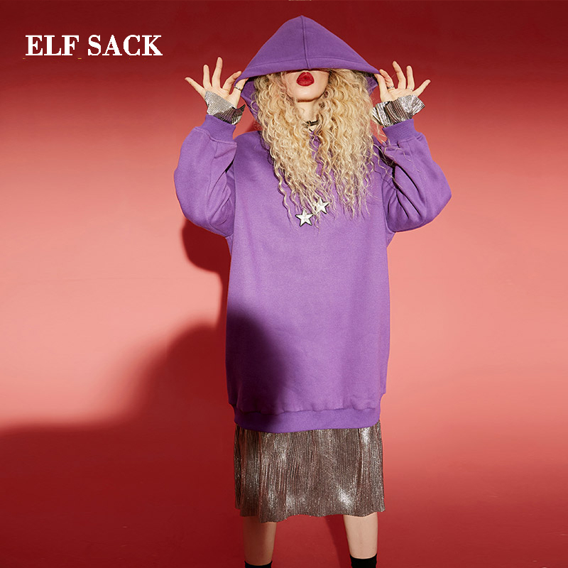 ELF SACK New Stylish Dress Woman Hooded Casual Patchwork Women Dresses A line Knee Length Vintage