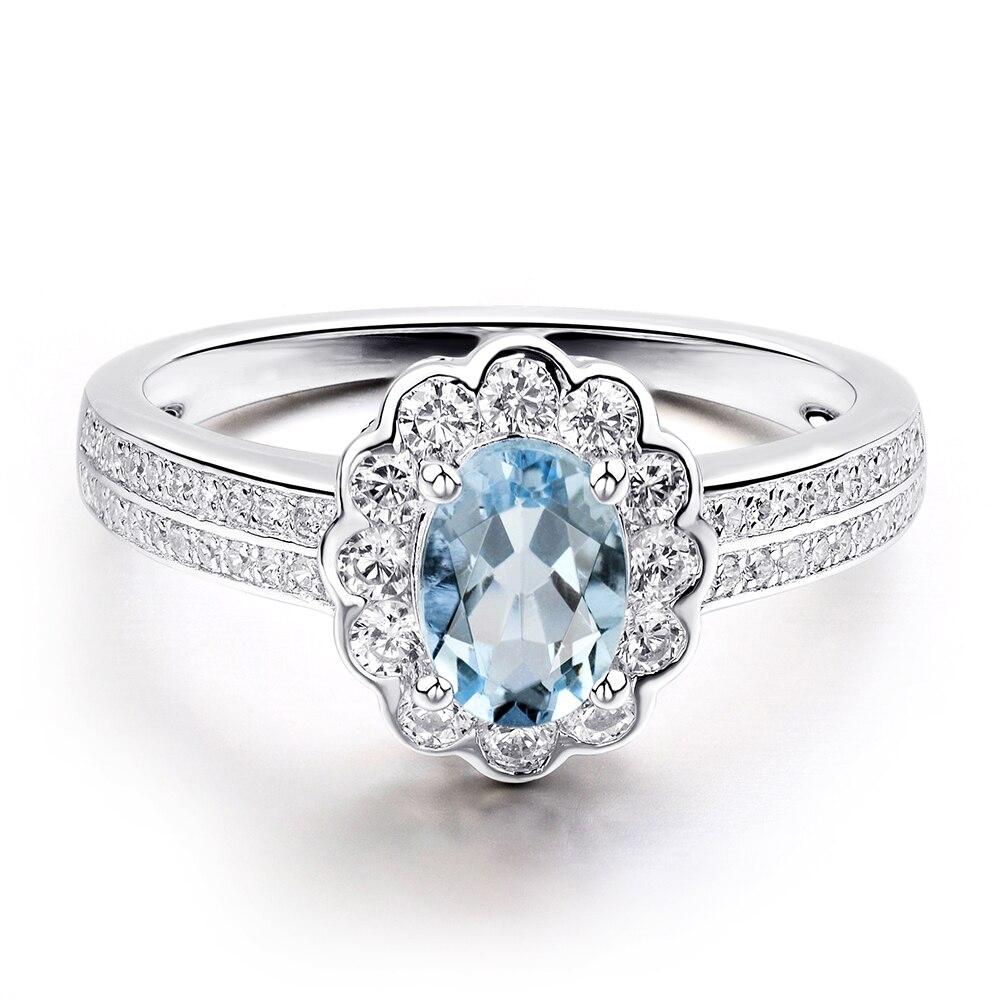 Leige Jewelry Natürliche Sterling Silber Blau Aquamarin Ring Halo - Edlen Schmuck - Foto 3
