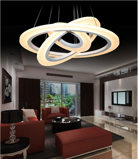 Suspension LED lustre, acrylique lustre lampe anneaux pour salle à manger cercle lustre lumières blanc finition 110V 220V