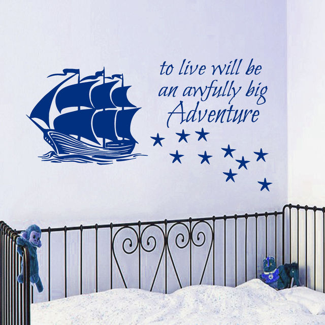 Pirate Ship Wall Decal Quote Vinyl Sticker Stars Decals Kids Nursery Decor