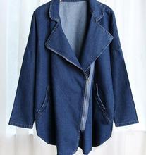 Vintage 2016 Lady jeans jackets plus size long Batwing sleeve Turn Down Collar Cardigan denim jacket