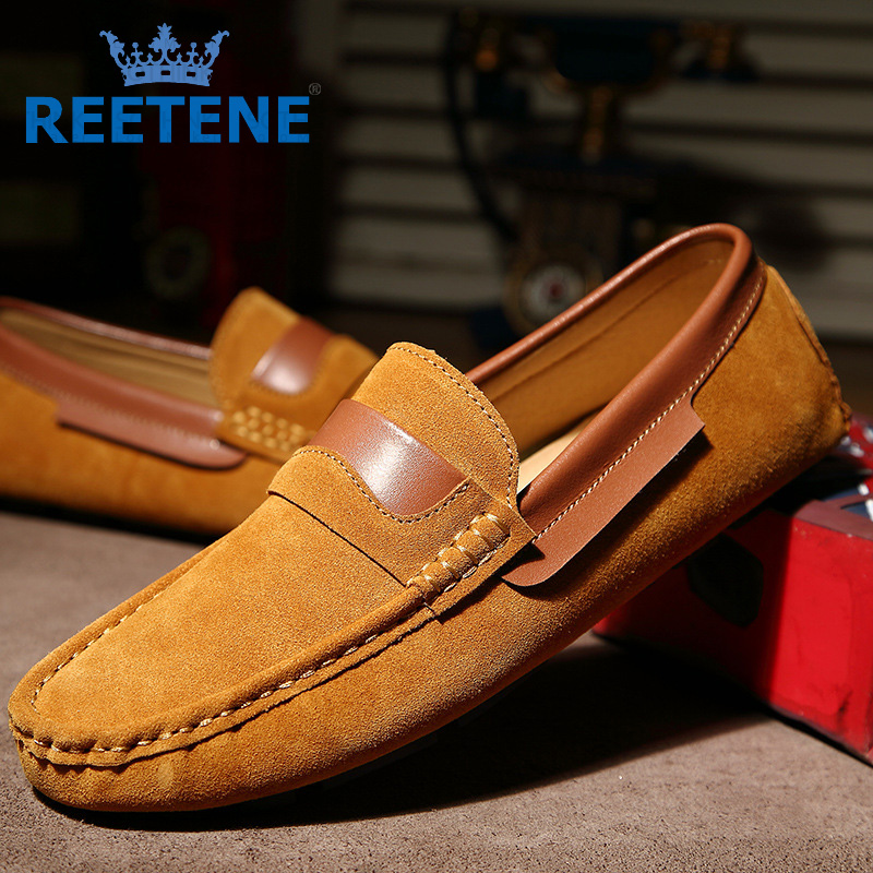 Fashion Suede Loafers Men,Mens Black Loafers,Genuine Leather Men Flats Shoes Genuine Slip - REETENE Store store