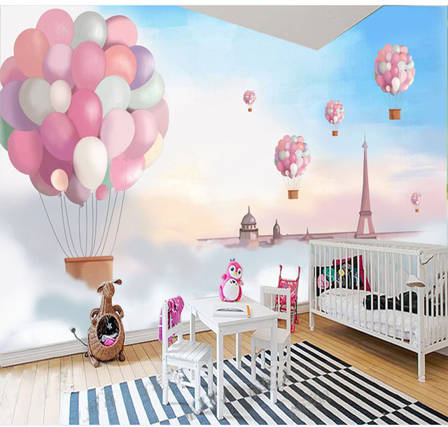 Hand Paint Blue Sky Fire Balloon Cartoon Murals Wallpaper For Child Baby Room Background