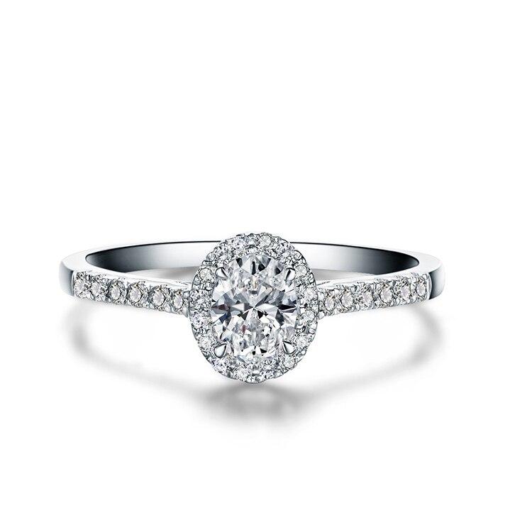 Zocai Hochzeit Ring 0 50 Ct Echt Oval Cut Diamant Cluster