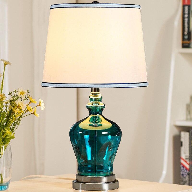 Туда Бесплатная доставка синего стекла, настольные лампы современный минималистский настольная лампа для Спальня синий ваза настольная ла...