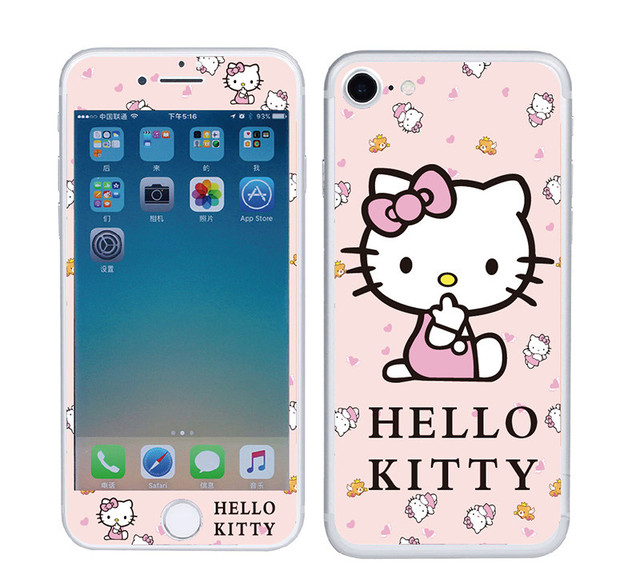 buy cheap 61d88 a37d4 US $3.19 25% OFF Hello Kitty Pattern 3D Tempered Glass For iphone 8 6 6S  7plus Glitter Screen Protector Front+Back Anti Explosion Protective Film-in  ...