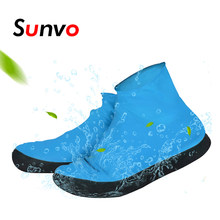 Sunvo Shoe Covers for Men Women Reusable Waterproof Rain Shoes Protector Rainy Blue Elasticity Overshoes Boots Accessories(China)