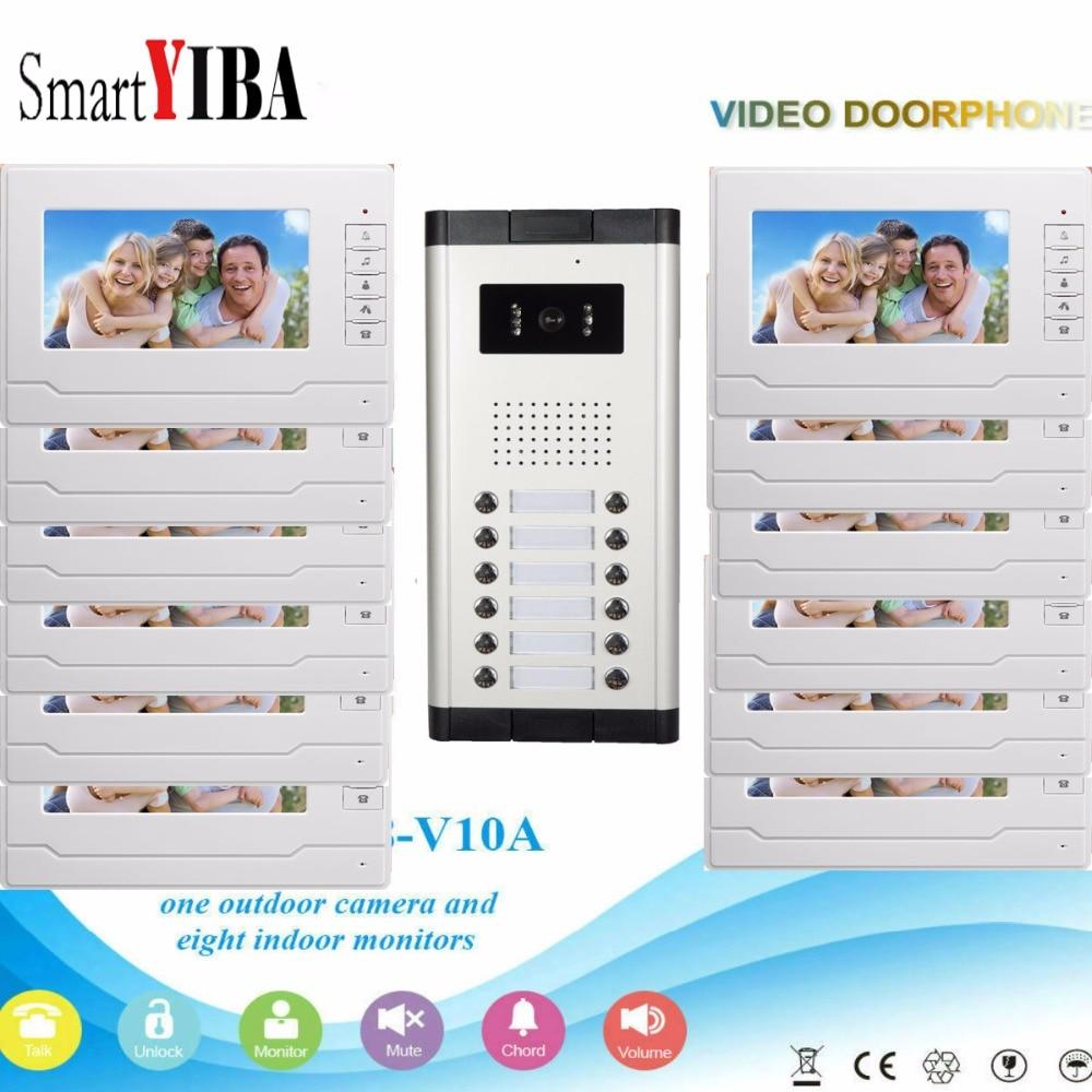 SmartYIBA Smart Wired 7'' LCD Video Door Phone Intercom Doorbell For 12 Units Multi  Household IR Video Door Camera