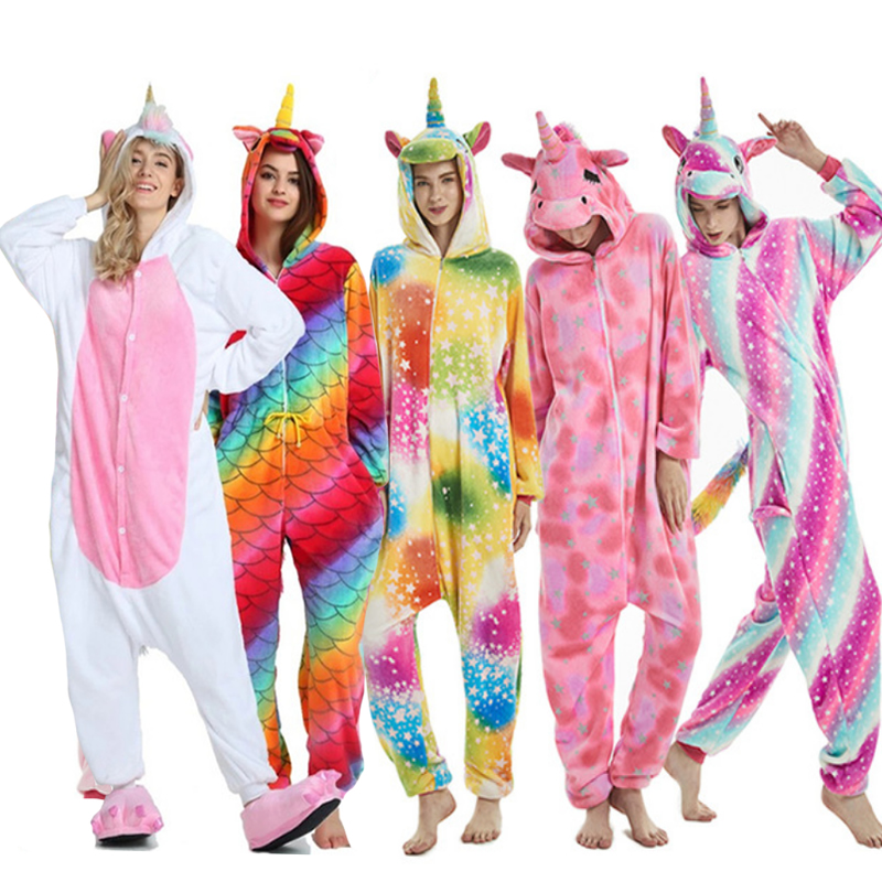 Adults Animal Kigurumi   Pajamas     Sets   Sleepwear Cosplay Zipper Women Men Winter Unisex unicornio Stitch Cartoon Unicorn   Pajamas