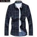 Camisas de los hombres cheque floral camisa de manga larga ocasional otoño y más tamaño 5XL 6 XL 7XL hombres de negocios casual camisas 2017 Nuevo