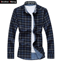 Men's Shirts floral check casual long sleeve shirt autumn and plus size 5XL 6 XL 7XL business casual men's shirts 2017 New