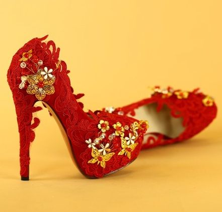 14cm extra high heels wedding shoes red for woman thin high heels ...