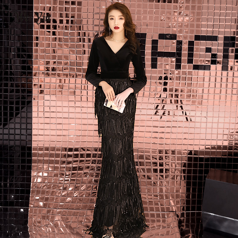 weiyin   Evening     Dresses   Long V Neck Long Sleeves Sequined Elegant Formal Party Gowns Velour   Evening   Gowns Robe De Soiree WY1254