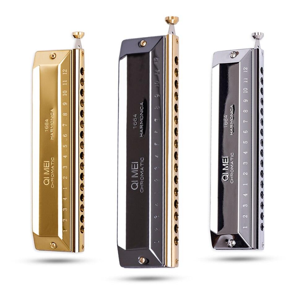 Qimei Chromatique Harmonica 16 Trou 64 Ton Orgue à Bouche Instrumentos Clé De C Professionnel Musical Instruments ABS Peigne Qimei 1664